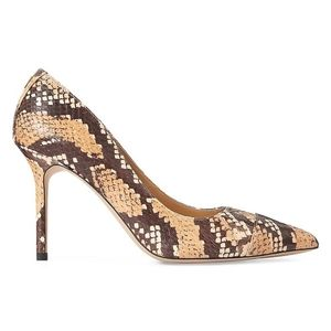 Lauren Ralph Lauren  Snakeskin-Print Leather Pumps